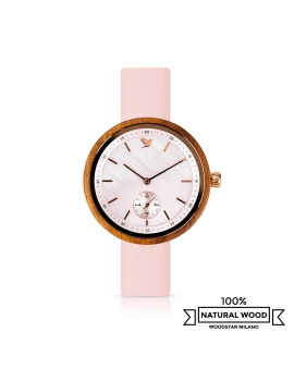 Eris - Wristwatch in wood, pink mother-of-pearl and genuine leather