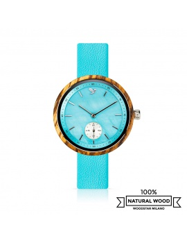 Iris - Wristwatch in wood, turquoise mother-of-pearl and genuine leather