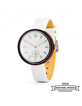 Aura - Wristwatch in wood, white mother-of-pearl and genuine leather