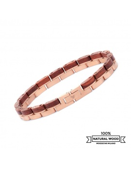 Flamingo - Wooden and stainless steel bracelet