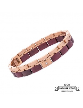 Pink Fox - Wooden and stainless steel bracelet
