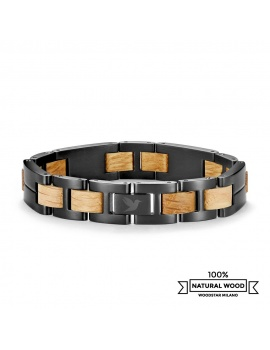 Yellow Shark - Wooden and stainless steel bracelet
