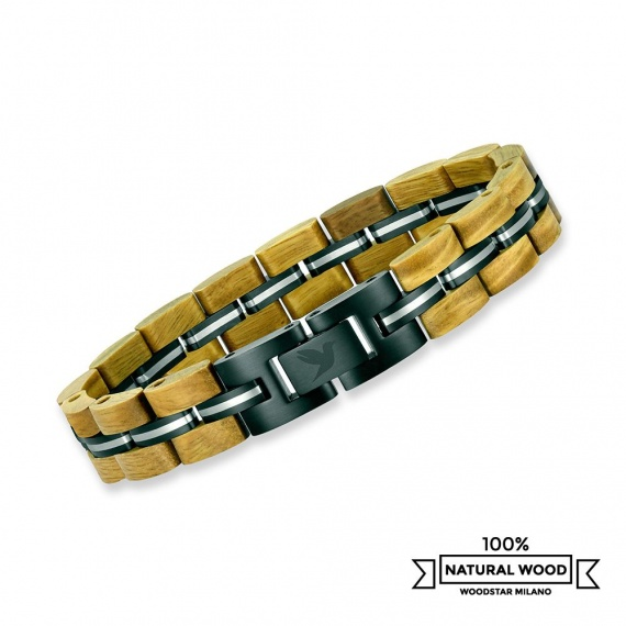 Green Mamba - Wooden and Stainless Steel Bracelet