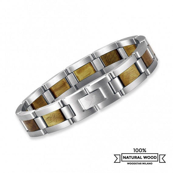 Green Wolf - Wooden and stainless steel bracelet