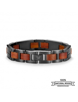 Red Shark - Wooden and stainless steel bracelet