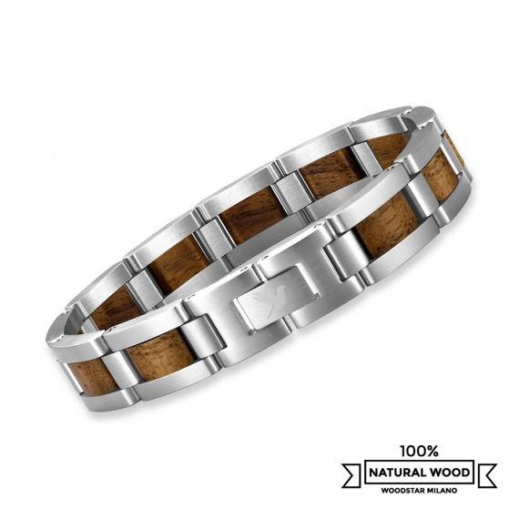 Brown Wolf - Wooden and stainless steel bracelet