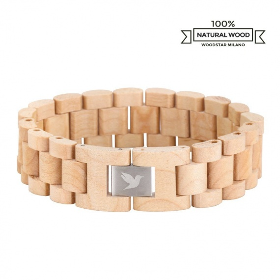 Woodstar Milano mod. White Crocodile - Natural wooden bracelet