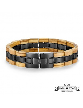 Cobra - Wooden and stainless steel bracelet