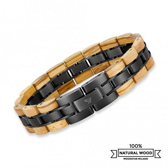 Cobra - Wooden and stainless steel bracelet