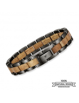 Silver Dark Crocodile - Wooden and stainless steel bracelet
