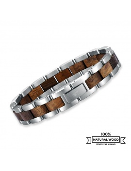 Silver Crocodile - Wooden and stainless steel bracelet
