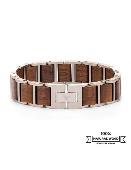 Silver Bison - Wooden and stainless steel bracelet