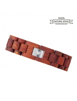 Woodstar Milano mod. Red Crocodile - Natural wooden bracelet